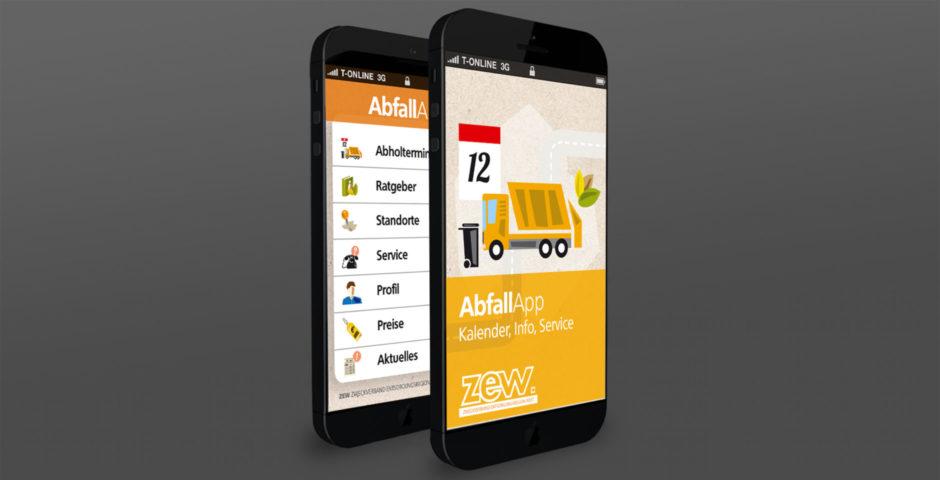 App Design Screendesign Abfallapp wesentlich regio it Aachen Entsorgungsbetriebe