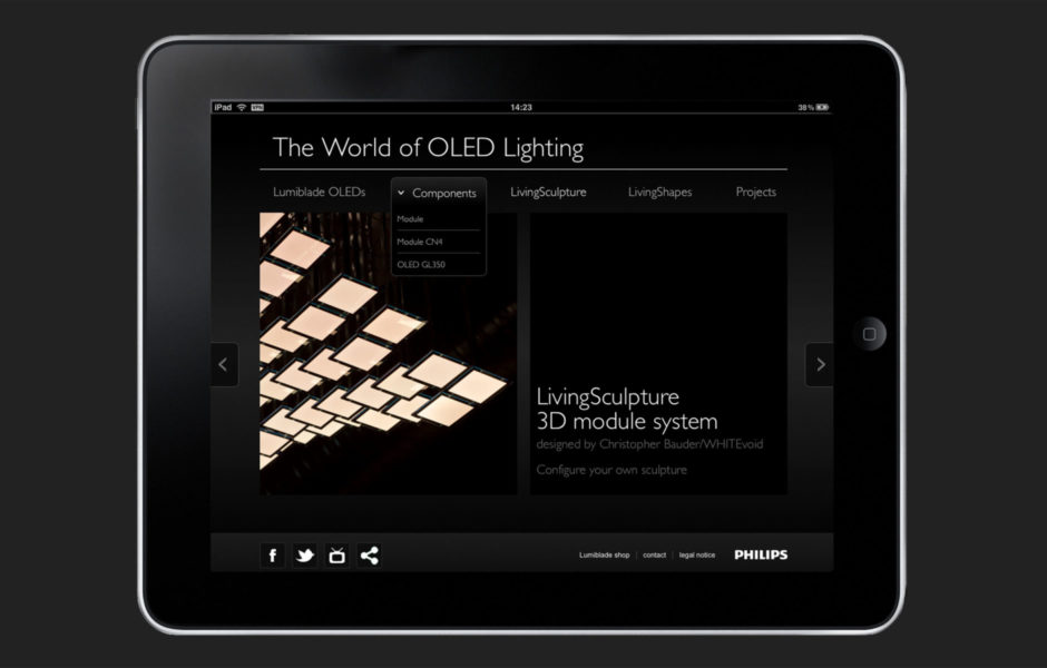Philips lumiblade, oled works, corporate design web design, art direction, wesentlich, aachen, saskia petermann