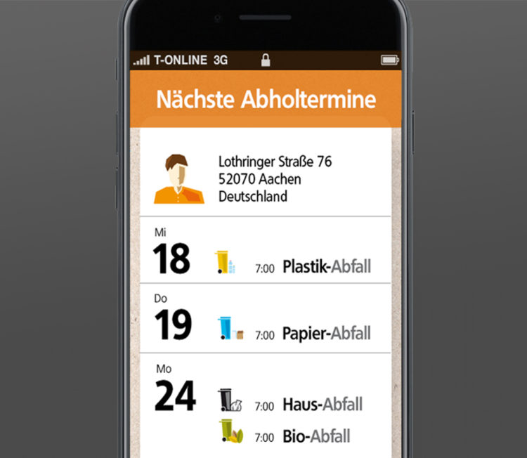 Startseite U003e Interaktion U003e Regio IT U2013 Abfall App Design